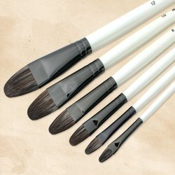 Udtee 6Pcs High-Quality/Long Handle/Paint Dedicated Varying Sizes(#2/#4#/#6/#8/#10/#12) Flat Style Gouache/Watercolor Paint/Draw Brush Made Of Weasel'S Hair Rigidity Brush And Flexible Paint Brush Set