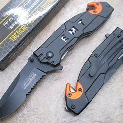 Tac Force E.M.T Half Serrated Black Stainless Steel Blade Knife