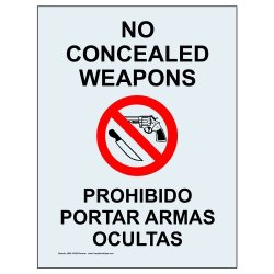 Compliancesigns Clear Vinyl Concealed Carry Label, 14 X 10 In. With Front Adhesive, English + Spanish