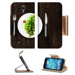 Green Grapes Fork Knife Dish Samsung Galaxy S4 Flip Cover Case With Card Holder Customized Made To Order Support Ready Premium Deluxe Pu Leather 5 Inch (140Mm) X 3 1/4 Inch (80Mm) X 9/16 Inch (14Mm) Luxlady S Iv S 4 Professional Cases Accessories Open Cam