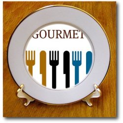 Cp_44687_1 Patricia Sanders Creations - Gourmet Fork And Knife- Dining- Dinner Art - Plates - 8 Inch Porcelain Plate