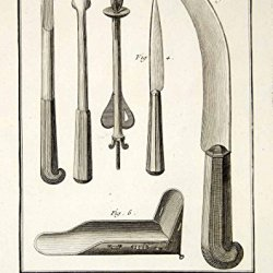 1779 Copper Engraving Antique Obstetrical Childbirth Instruments Diderot Ddr2 - Original Copper Engraving