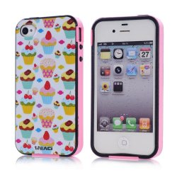 Meaci Apple Iphone 4 4S Case Combo Hybrid Smooth Hard Tpu Material With Pattern (Cake Dessert)