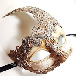 New! Toga Party Special - Venetian Goddess Masquerade Mask Made Of Resin, Paper Mache Technique With High Fashion Macrame Lace & Rhinestones [Ivory]