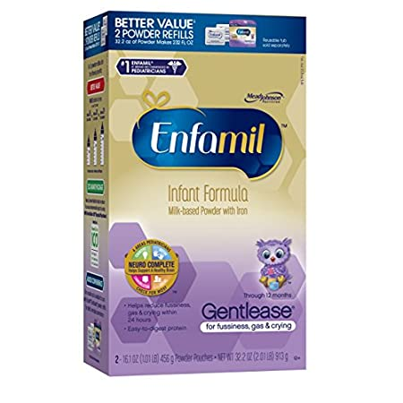 Enfamil GentleaseFeeding issues are common-and manageable-and are simply a sign that your baby's digestive system is developing. That's why fussiness, gas and crying are common at feeding time. Sometimes a change in formula can make all the differenc...