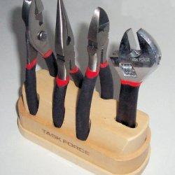 """""""Abc Products"""" - {Final Close-Out} ~ 4-Piece Tool Set Most Common Used Tools - (1) 6 In. Slip-Joint Pliers, (1) 6 In. Nose Pliers, (1) 6 In. Side Cutters And (1) 6 In Adjustable Wrench (All In Wood Storage Base)"""