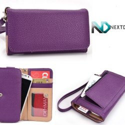 Doogee Dagger Dg550 Wallet & Wristlet Case || Purple With Credit Card Holder