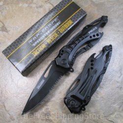 Tac Force Police Black Unique Assisted Opening Folding Knife 4.5-Inch Closed