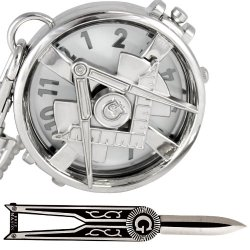 (Set/2) Masonic Spinning Compass Logo Pocket Watch & Folding Pocket Knife