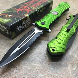Z-Hunter Spring Assisted Open Outdoor Hunting Tactical Rescue Pocket Apocalypse Zombie Hunter W/ Zombie Logo Design Knife - Green