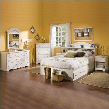 Image of South Shore Summer Breeze Kids Full Wood Bookcase Bed 4 Piece Bedroom Set in White Wash (3210211-4PKG)