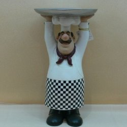 Fat Chef Kitchen Figure Table Art Statue Holding Serving Plate D64135