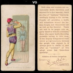 1888 Duke N86 Scenes Of Perilous Occupations (Non-Sports) Card# 25 Knife Throwing In Circus Vg Condition