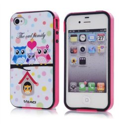 Meaci Apple Iphone 4 4S Case Combo Hybrid Smooth Hard Tpu Material With Pattern (Owl Family)