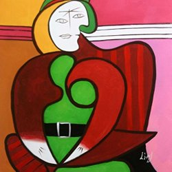 "Picasso _ The Red Armchair_Oil Painting On Canvas 20X24"" Abstract Modern Wall Canvas Repro Art"