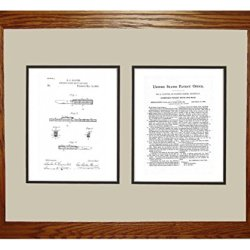 """Combined Pocket Knife And Rule Patent Art White Matte Print In A Honey Red Oak Wood Frame (16"""" X 20"""")"""