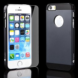 Iphone 5 5S Gray Case + Glass Screen Protector Gray Bundle Combo: Gray Aluminum Metal (7H Hardness, Gray) On Hard Apple Iphone 5 5S Cover Case With Soft Silicone Cushion Plus Scratch Proof Glass Screen Protector. Space Gray Amplim Alloy Ultra Fs (At&T, Ve