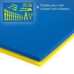 "U-Cut Custom Foam Organizers For Toolbox Drawers (16""X22"") : Blue / Yellow"