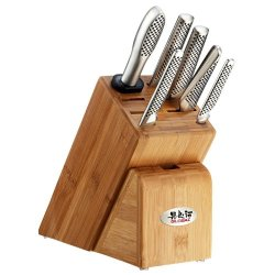 Global Japanese Knives Takashi 7 Pce Knife Set Block And Mino Ceramic Knife Sharpener