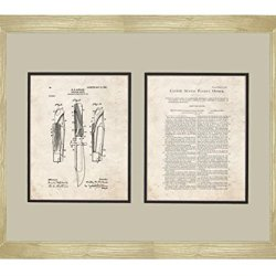 "Hunting-Knife Patent Art Old Look Print In A Natural Raw Wood Frame (16"" X 20"")"