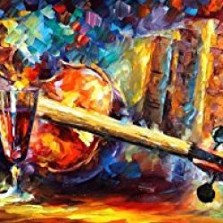 Decorative Room (Unframe And Unstretch) 100% Hand-Painted Palette Knife Oil Painting On Canvas,Violin,40 X 16 Inch