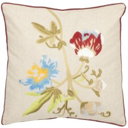 Safavieh Pillow Collection Spring Blooms 18-Inch Cream Embroidered Decorative Pillows, Set Of 2