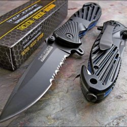Tac-Force Black High Carbon Rescue Glass Breaker Knife!!