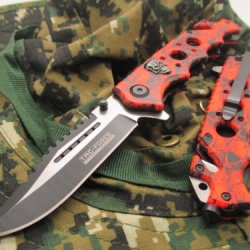 New Tac-Force Assisted Opening Linerlock Red & Black W/ Skull Design A/O Speed Rescue Glass Breaker Knife