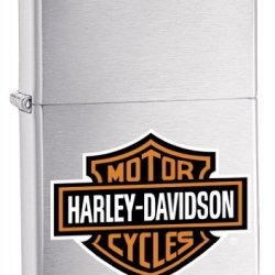 Zippo Harley-Davidson One Surface Logo Lighter (Silver, 5 1/2 X 3 1/2 Cm)