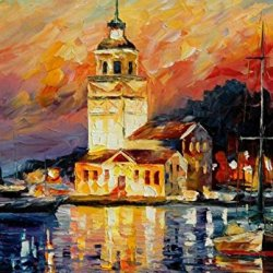 100% Oil Painting Unframed The Night City Home Decoration Modern Knife Paintng On Canvas 50X35In/125X87.5Cm