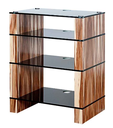 Image of BLOK STAX DeLuxe 400 Four Shelf Satin Walnut Hifi Audio Stand & AV TV Furniture Rack Unit (B008AHJ4AM)