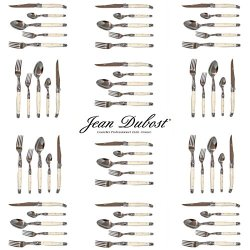 French Laguiole Dubost - Ivory - Complete Flatware Set For 12 People (60 Pcs) - In Heavier 25/10 Stainless Steel (Official White Color Laguiole Cutlery Setting - Direct From France)