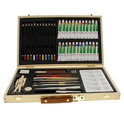 """Us Art Supply® 50-Piece Acrylic Painting Set With, Wood Storage Case, 24-Tubes Acrylic Colors, 12 Colored Pencils, 2 Graphite Pencils, 4 Artist Brushes, 5.5"""" Manikin, Palette Knives, Eraser, Pencil Sharpener, Plastic Palette With 10 Wells-Great Student Ar"""