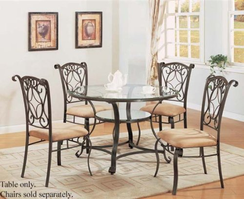 Image of Dining Table with Glass Top Antique Bronze Finish (VF_AM7960)