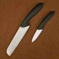 Stone River 2-Piece Santoku/Parer With White Ceramic Blade