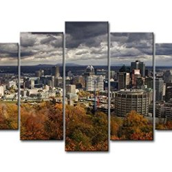 5 Panel Wall Art Painting City Autumn Trees Prints On Canvas The Picture City Pictures Oil For Home Modern Decoration Print Decor
