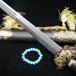 Chinese Sword Sale/Folding Steel Double Groove Blade/Zinc Alloy Knife/Black Wood