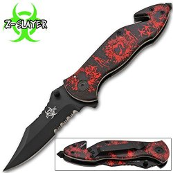 """Zombie Assisted Action Rescue Folding Knife Walking Dead 4.5""""Closed"""