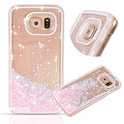 Galaxy-S7-Case-Wuloo-Samsung-Galaxy-S7-Hard-Case-Fashion-Creative-Design-Flowing-Liquid-Floating-Luxury-Bling-Glitter-Sparkle-Love-Heart-Hard-Case-for-Grils-Children-Pink