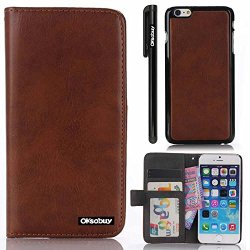 Oksobuy® Apple Iphone6 (4.7 Inch) Model High Quality And Durable Fashion Leather Luxury Designer Pu Leather Wallet Type Magnet Split Cell Phone Holster Combo Dual-Use Combo Flip Case Cover With Credit Card Holder Slots Fit For Apple Iphone6 (Apple Iphone
