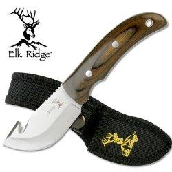 """Er-108. Elk Ridge Gut Hook Skinner. Pakkawood Handle 7"""" Overall Elk Ridge Gut Hook Blade Skinner Knife. 440 Stainless Steel Blade. Pakkawood Handle 7"""" Overall With Heavy Duty Nylon Case. Knife Fixed Blade Knife Hunting Sharp Edge Steel"""