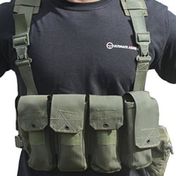 Ultimate Arms Gear Surplus Tzahal Zahal Idf Military Od Olive Drab Green Canvas Vest Harness Personal Load Carrying System Plcs With Shoulder Suspension, Cushioned Waist Belt & Ammunition Pouches + Water Bottle Insulation Hydration Canteen Cover Israeli I