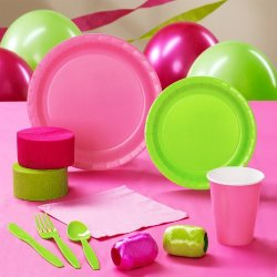 Lime Green & Hot Pink Standard Pack For 24 Party Supplies