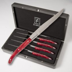 Fortessa Laguiole Red Marble Handle Steak Knives (Set Of 4)