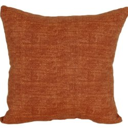 Codson Park Square Grasscloth Outdoor Pillow With Knife Edge Finish, 20-Inch, Cinnamon