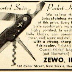 1949 Ad Zewo Swiss Army Pocket Knife Multi Tool Sporting Goods Hunting Fishing - Original Print Ad
