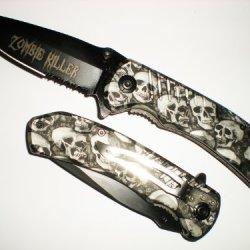 Black Skull Zombie Killer Grip Handle Assisted Opening Rescue Pocket Knife