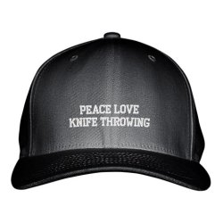 Peace Love Knife Throwing Sport Embroidered Adjustable Structured Hat Cap Black