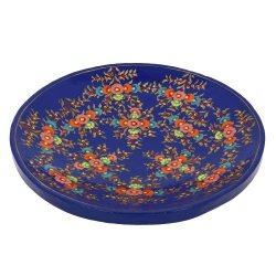 Paper Mache Artistic Accents Colorful Serving Tray Platter For Fruits Blue Decor