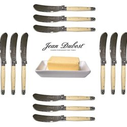 French Laguiole Dubost - Horn - 12 Butter Knives - Stainless Steel Lemmet (Genuine Quality Family Dinner White Color Table Flatware/Cutlery Spreaders Setting For 12 People - Each Knife: 6 Inches - Manufactured In France - With Certificate Of Authenticity